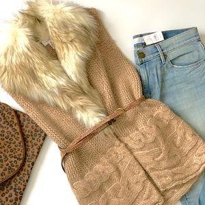 LOFT knit fur vest- Like New